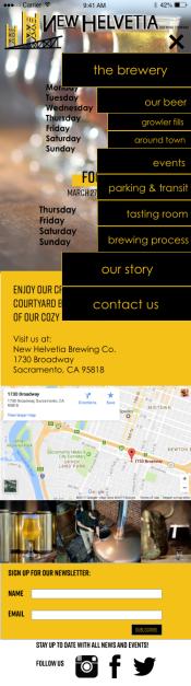 homepage with drop down menu